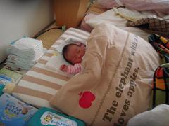 赤ちゃんの寝顔の写真